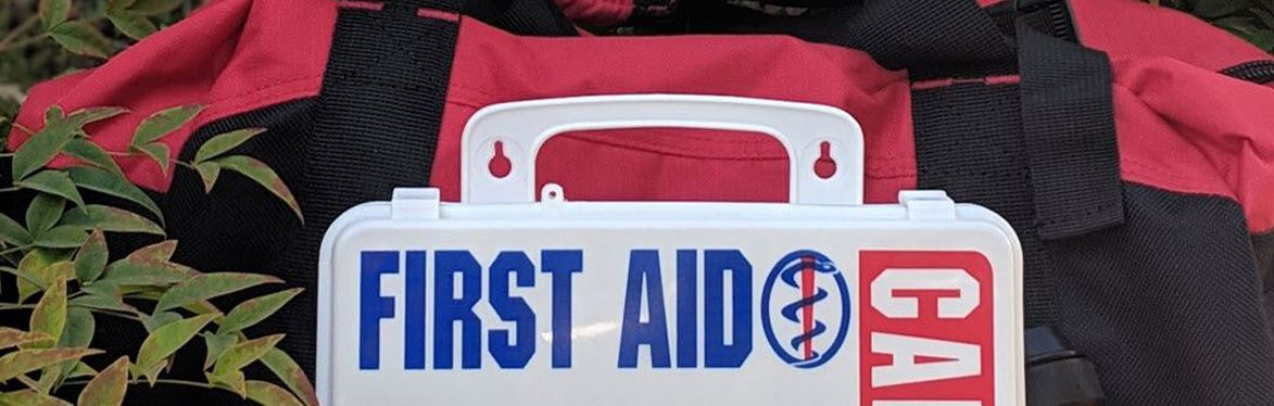 First Aid bag and kit in bushes