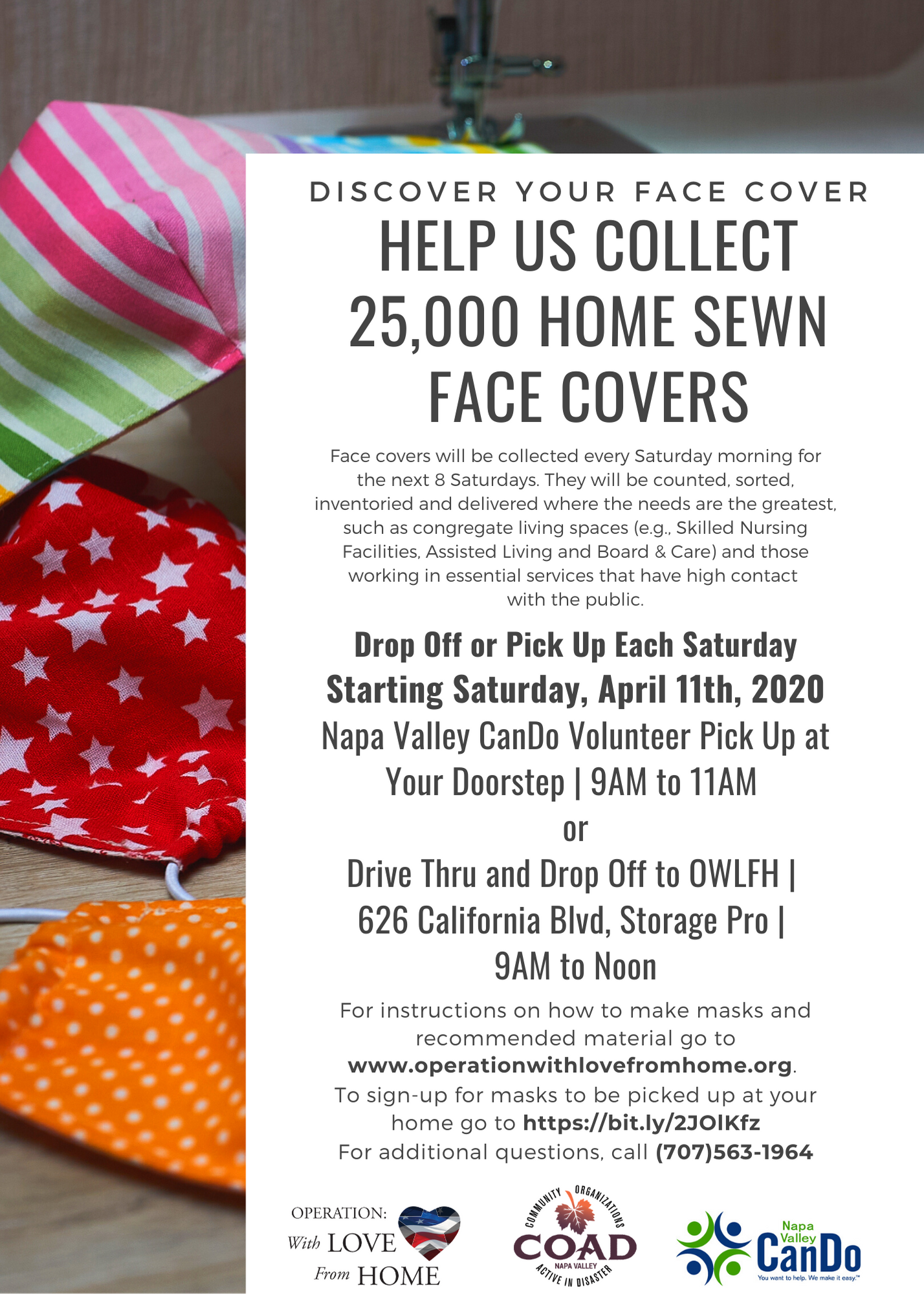 Community Drive for Home-sewn Face Coverings: click to access PDF version of this image